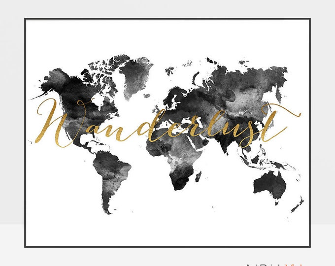 Wanderlust map, World map poster, Large World Map, World Map wall art, Travel map, black and white map, Travel gift, ArtPrintsVicky