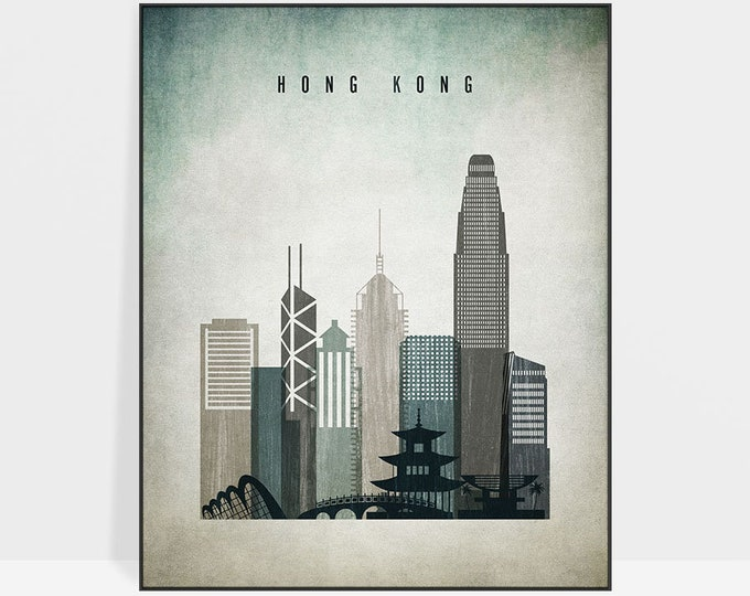 Hong Kong wall art, Hong Kong print, poster, Hong Kong skyline, travel poster, distressed art, home decor, gift, ArtPrintsVicky