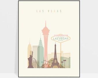Las Vegas print, Poster, Las Vegas skyline, Wall art, Nevada cityscape, City poster, Travel gift, ArtPrintsVicky