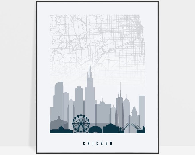 Chicago map poster, print, Chicago skyline, Chicago poster, city maps, wall art, travel gift, home decor, ArtPrintsVicky