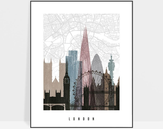London map poster, London skyline art, London map print, wall art, Great Britain, Travel gift, Home Decor, distressed ArtPrintsVicky