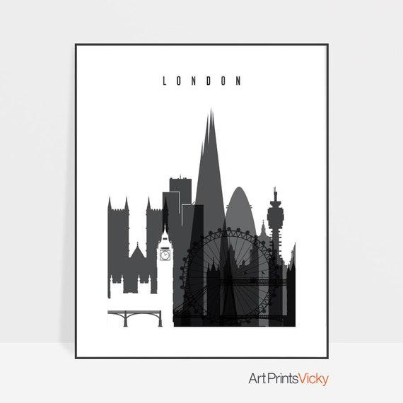 London Print London Skyline Wall Art Minimalist Poster Black And White City Print Office Decor Travel Gift Home Decor Artprintsvicky