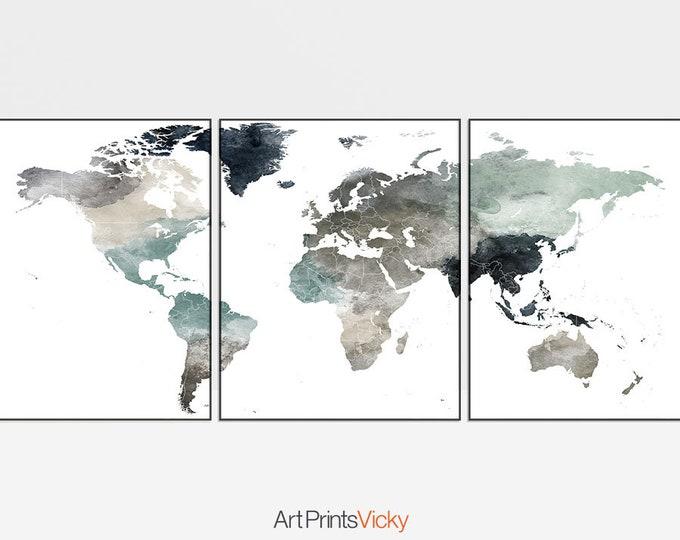 triptych World map art, posters, World map set of 3 prints, World map 3 pieces wall art, travel decor, home decor, Gift, ArtPrintsVicky