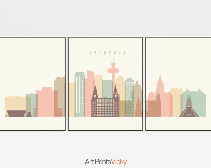 Liverpool triptych skyline, Liverpool 3 piece wall art, Liverpool set of 3 prints, travel decor, home decor, art gift, ArtPrintsVicky