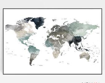 Detailed world map, World map wall art,  World map poster, Large world map, World map print, Map Decor, Office decor, ArtPrintsVicky