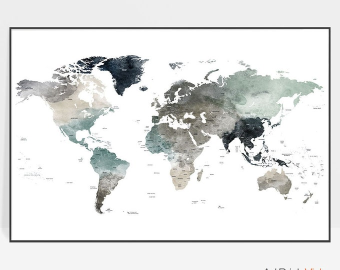 World map, World map wall art,  World map poster, Large world map, World map print, Gift Decor, ArtPrintsVicky