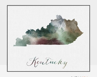 Kentucky state map, Kentucky watercolor map, Wall art, Kentucky map poster, Kentucky state print, travel poster, gift, ArtPrintsVicky