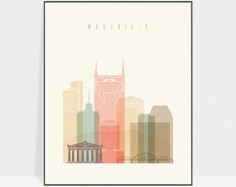 Nashville print, poster, Nashville wall art, Nashville Tennessee skyline, Travel prints, ArtPrintsVicky