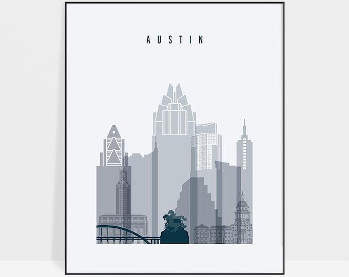 Austin print, Austin poster, Texas, Austin art, Austin skyline, Austin wall art, home decor, city prints, travel gift, ArtPrintsVicky