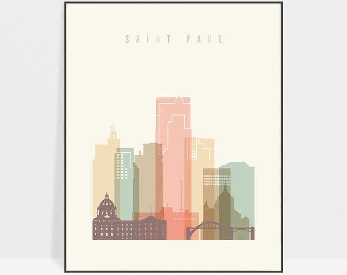 Saint Paul art print, Saint Paul wall art, Saint Paul skyline poster, travel decor, housewarming gift, ArtPrintsVicky