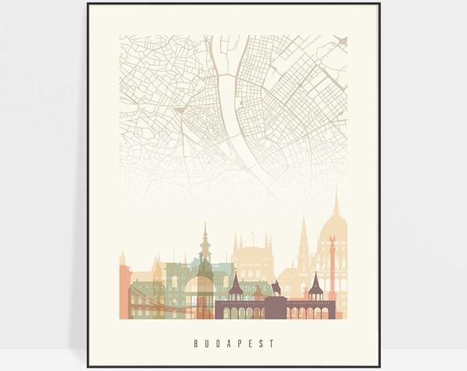 Budapest map print, Budapest map poster, Budapest skyline art print, wall art, Hungary, City maps, Travel gift, Home Decor, ArtPrintsVicky.