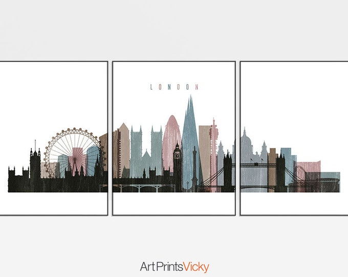 London prints, triptych of London skyline, poster, London wall art, set of 3 pieces, city print, travel gift, home decor, ArtPrintsVicky