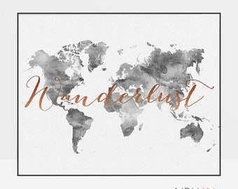 Wanderlust, World map poster, World map wall art, Travel Map, Large world map, World map print, Gift, ArtPrintsVicky.