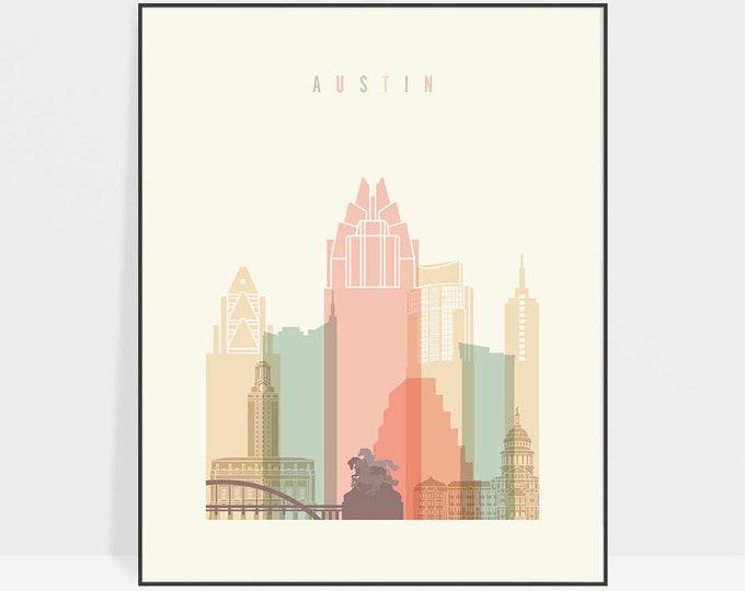 Austin poster, Austin print, Texas, Austin wall art, Austin skyline, art, home decor, travel, housewarming gift, ArtPrintsVicky
