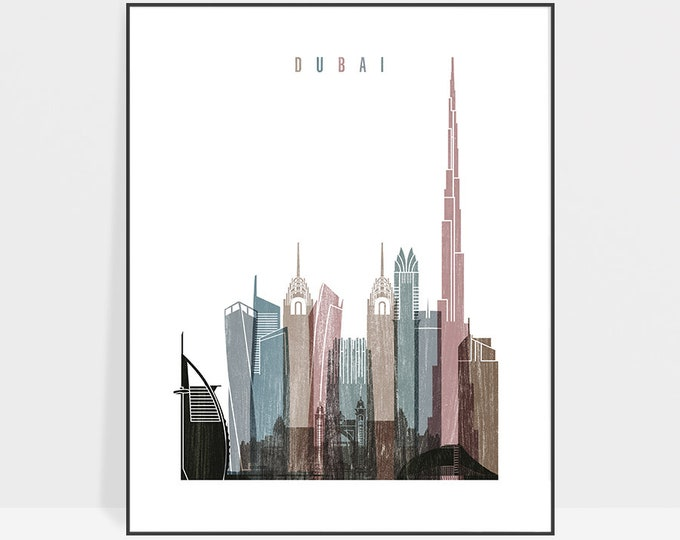 Dubai skyline art print, Poster, Wall art, Distressed art, United Arab Emirates, Travel gift, Home Decor, Office decor, ArtPrintsVicky