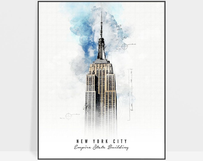 Empire State building, New York City art print, New York poster, wall art, Contemporary art, Travel, gift, home decor, ArtPrintsVicky