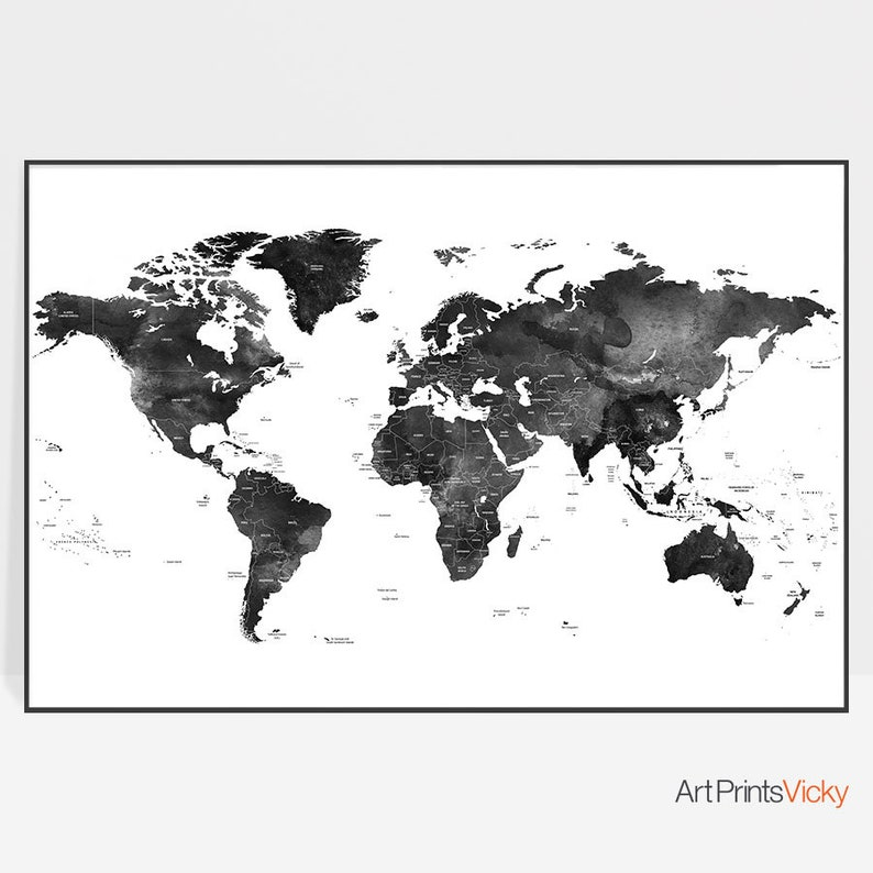 World Map Poster Black And White World Map World Map Wall Etsy