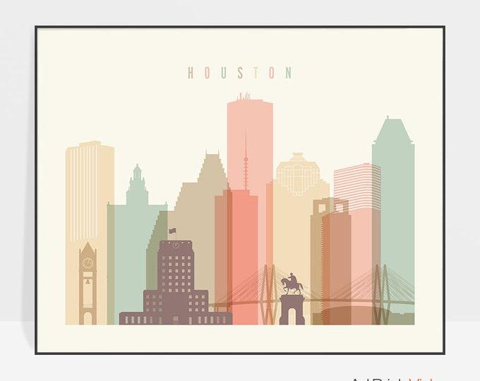 Houston, Houston art, Houston print, Houston poster, Houston skyline wall art, Texas decor, Trave poster, Home Decor, ArtPrintsVicky