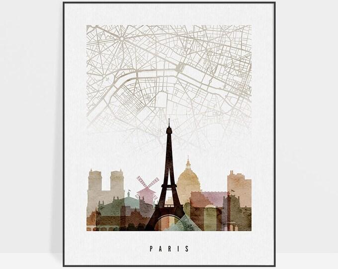 Paris map poster, Paris map print, Paris skyline, Wall art, France art, City maps, Home Decor, Travel gift, Wall decor, ArtPrintsVicky