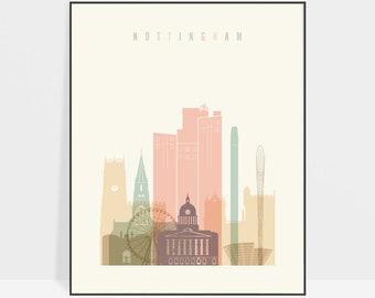 Nottingham print, Nottingham city skyline poster, Nottingham UK wall art, England prints and posters, Gift, ArtPrintsVicky