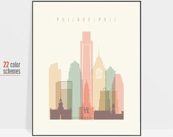 Philadelphia print, Philadelphia poster, Philadelphia wall art, Philadelphia city skyline art, USA city posters, ArtPrintsVicky