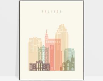 Raleigh print, Raleigh NC skyline print, poster, Raleigh North Carolina, Travel print, Gift decor, ArtPrintsVicky