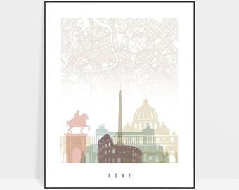 Rome map poster, Rome street map print, Rome skyline wall art,cmap of Italy city, map gift, ArtPrintsVicky