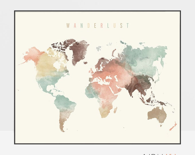 World map, World map poster, Wanderlust, World map wall art, World map print, watercolor travel Map, Large world map, ArtPrintsVicky