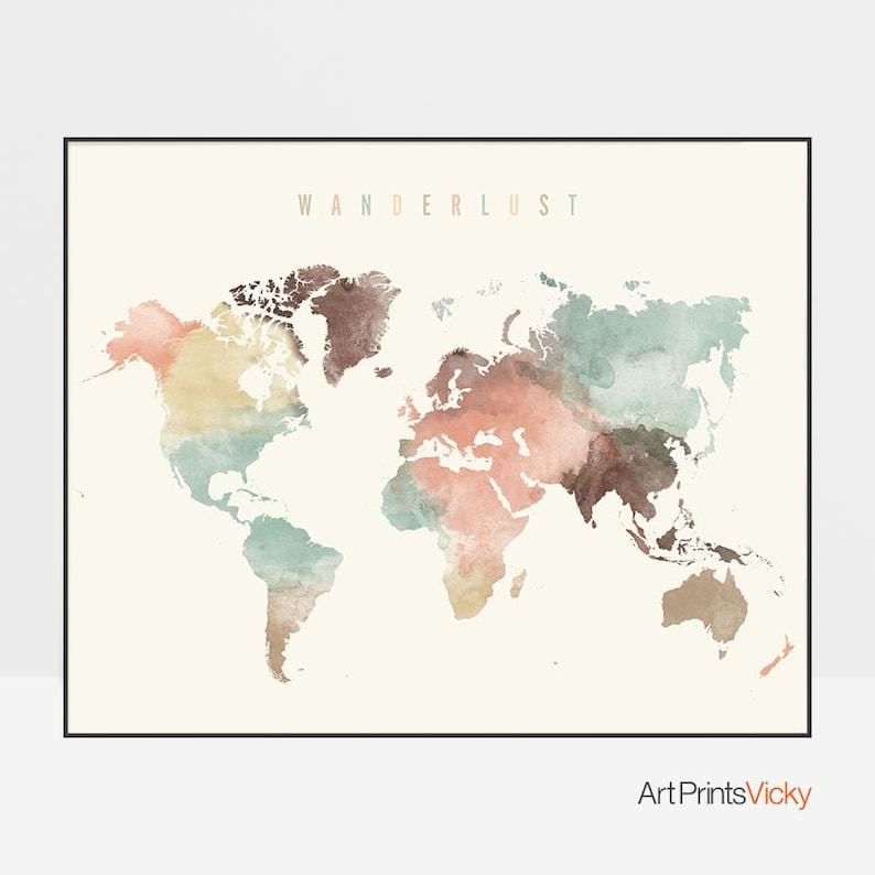 World map poster in pastel cream color scheme, ArtPrintsVicky