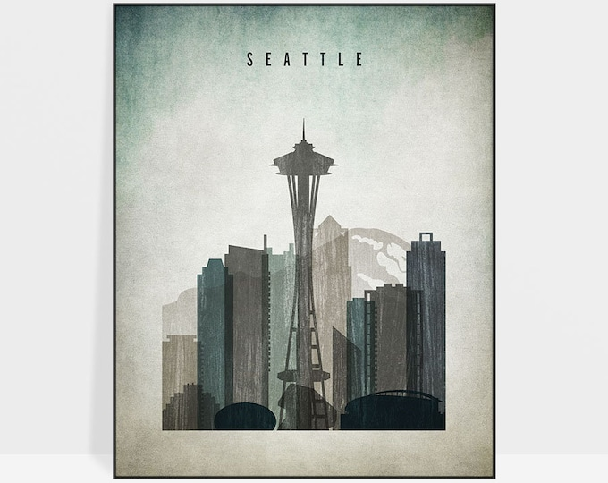 Seattle wall art, Seattle print, poster, Seattle skyline, travel poster, distressed art, home decor, gift, ArtPrintsVicky