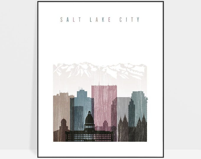 Salt Lake City art print, Salt Lake City skyline, Poster, Wall art, Travel, distressed art, Utah art, City prints, Home Decor ArtPrintsVicky