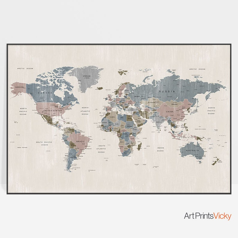 World map art World map poster Large world map art travel | Etsy