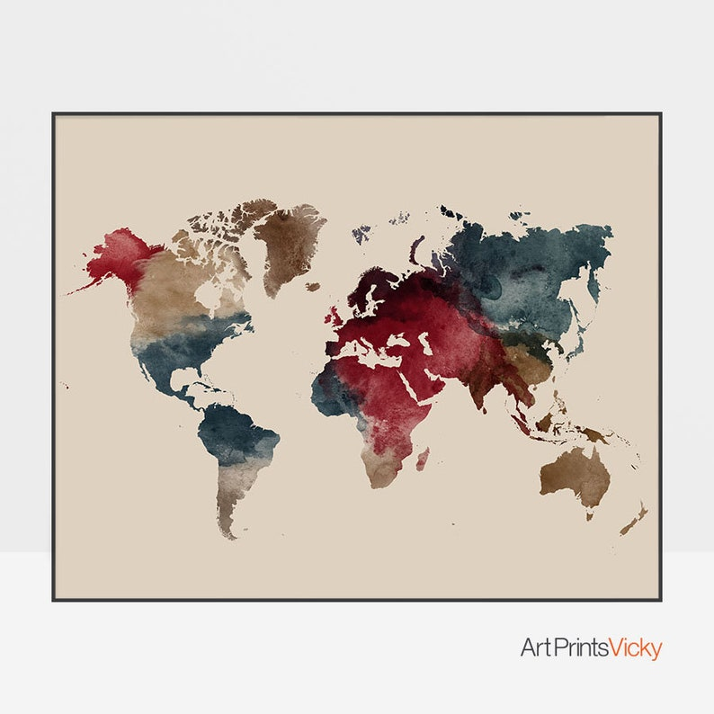 Colorful World Map Art.Colorful World Map World Map Wall Art World Map Poster Etsy