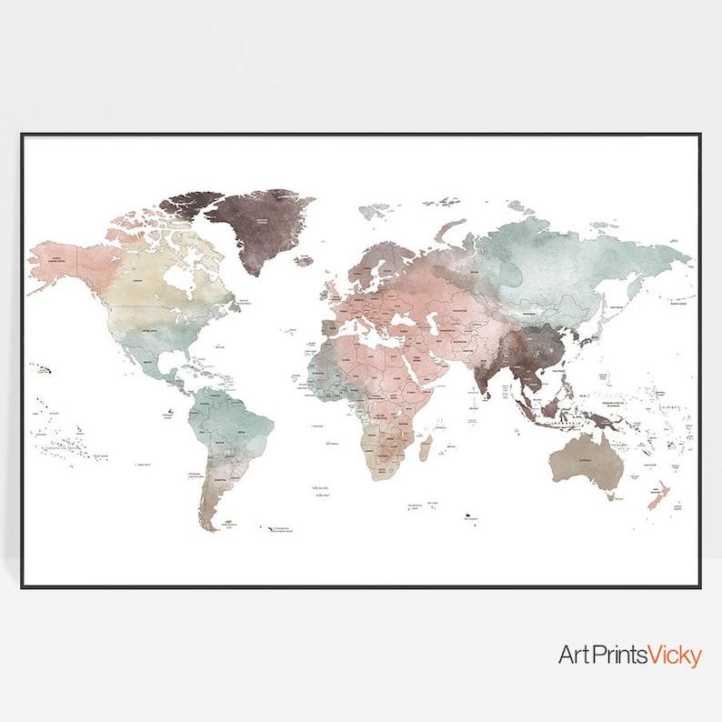 Detailed World Map World Map Poster World Map Wall Art Etsy
