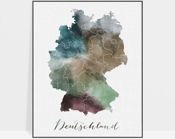 Germany watercolor map, Deutschland watercolor print, Germany Wall art, Germany map poster, Typography art, Fine art prints ArtPrintsVicky
