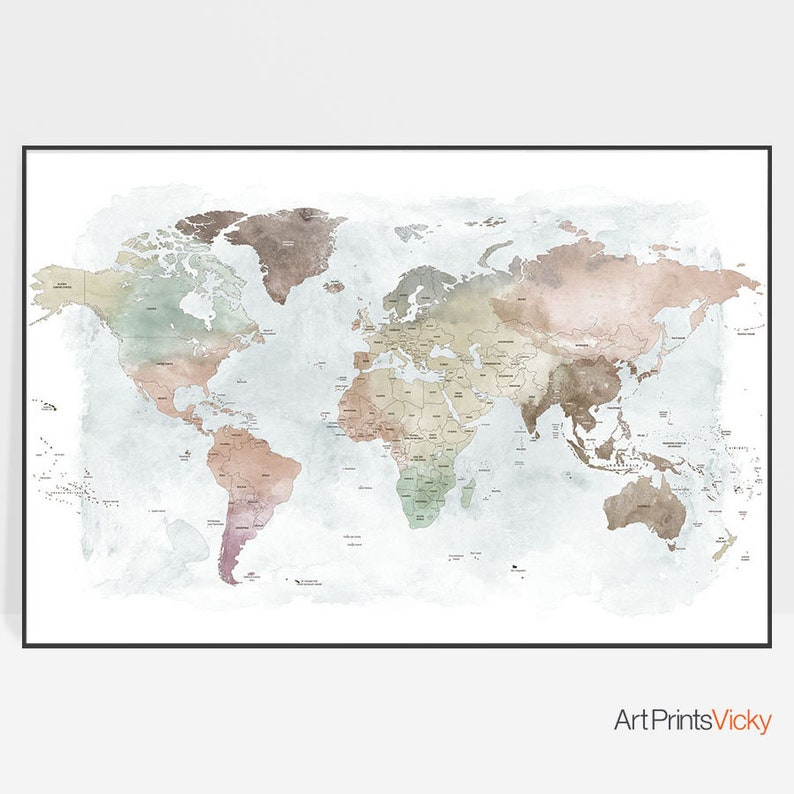 World map World map poster world map wall art Large world | Etsy