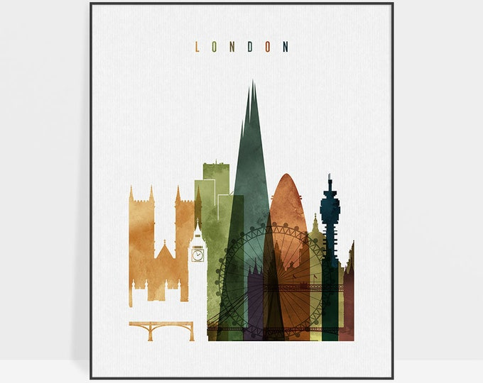 London art print, London skyline wall art, London watercolor poster, travel decor, housewarming gift, wall decor, ArtPrintsVicky