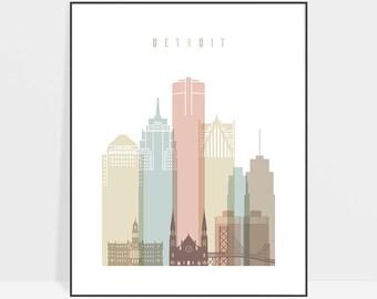 Detroit art, Detroit skyline print, Detroit poster, Michigan cityscape, Travel decor, City poster, ArtPrintsVicky