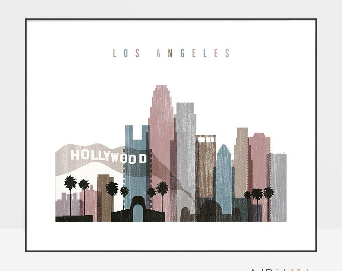 Los Angeles skyline art print, Los Angeles poster, Distressed, Wall art, travel gift, California, Home Decor, city prints, ArtPrintsVicky.