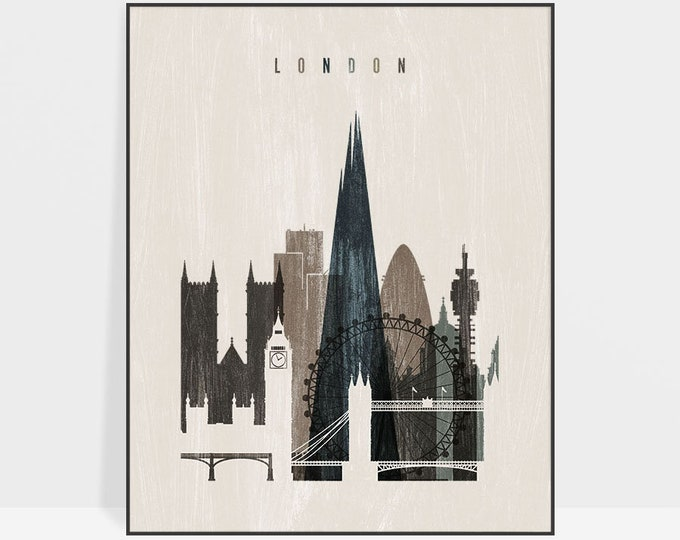 London art print, London skyline, poster, distressed art, City prints, Typography art, travel gift, Home Decor, ArtPrintsVicky.