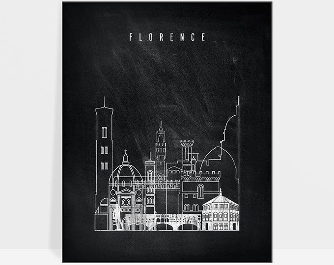 Florence skyline, print, Florence wall art, Florence poster, travel, gift, Italy cityscape, home decor, chalkboard, ArtPrintsVicky