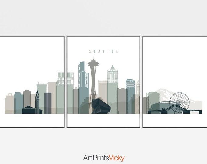 Seattle set of 3 prints, Seattle triptych wall art, Travel, Seattle skyline poster, Seattle large wall decor, home decor, ArtPrintsVicky