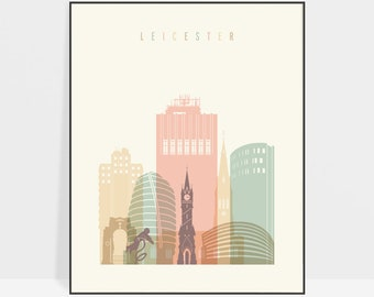 Leicester print, Leicester city skyline poster, Leicester UK wall art, UK prints and posters, England travel posters, Gift, ArtPrintsVicky