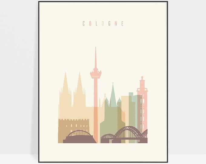 Cologne art print, Cologne poster, Cologne wall art, Germany cityscape, Cologne skyline, Art poster, Home Decor, ArtPrintsVicky