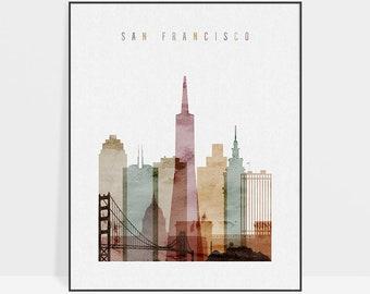 San Francisco Wall art, San Francisco Poster, San Francisco skyline print, ArtPrintsVicky