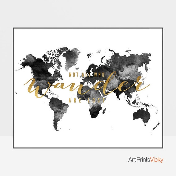 Black And White World Map Poster Watercolor Map Art Print Etsy