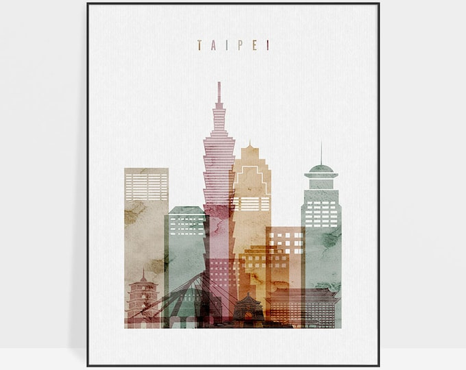 Taipei watercolor print, Taipei skyline poster, Wall art, Taipei cityscape, wall decor, travel, home decor, gift, ArtPrintsVicky.
