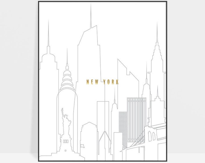 New York print, poster, New York skyline, wall art, NYC, New York decor, travel gift, faux gold text, city print, home decor, ArtPrintsVicky