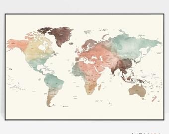 World map, World map poster, World map wall art, Detailed world map print, Large world map, travel map, gift, home decor, ArtPrintsVicky