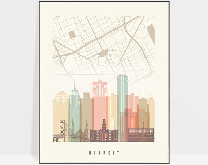 Detroit map poster, print, Detroit skyline, Wall art, Michigan cityscape, City maps, Home Decor, Travel gift, Wall decor, ArtPrintsVicky